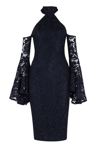 Black Lace High Neck Bodycon Prom Dress With  Long Sleeves