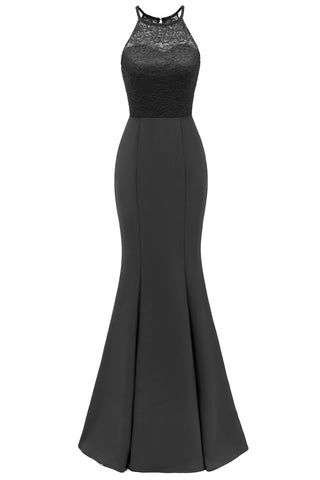 Black Lace Mermaid Long Prom Dress