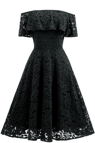 Black Lace A-line Homecoming Dress
