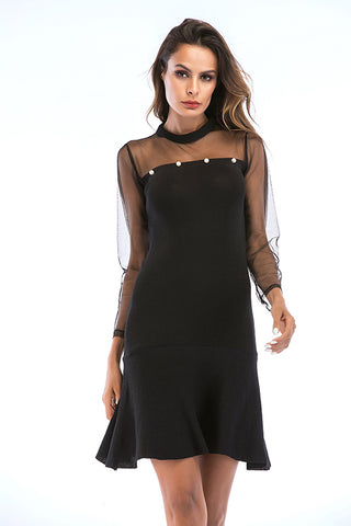 Black Mesh Sleeve Ruffle Hem Beading Dress