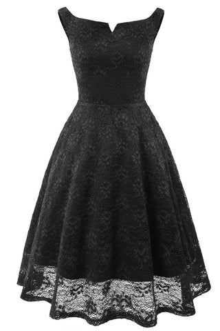 Black Off-the-shoulder Lace Homecoming Prom Dress
