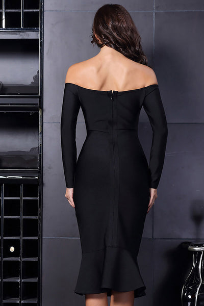 Black Off-the-shoulder Mermaid Prom Bandage Dress With Long Sleeves