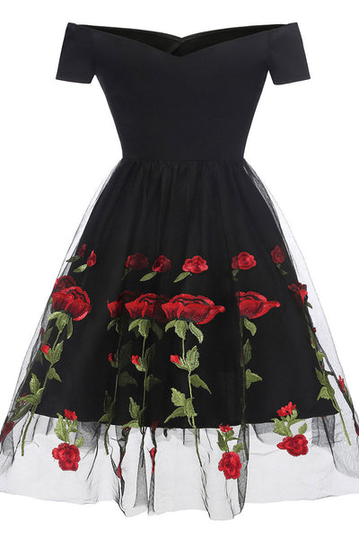 Black Off-the-shoulder Rose Embroidered A-line Prom Dress - Mislish