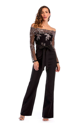 Black Off-the shoulder Sequined Empire Jumpsuit With Belt
