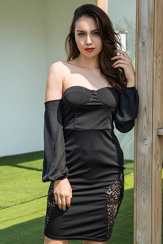 Black Off-the-shoulder Strapless Lace Backless Dress