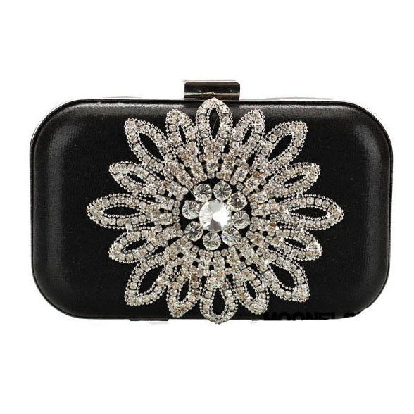 Schwarz Strass Luxus Party Handtasche