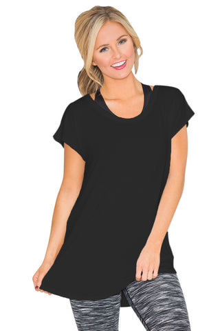 Black Round Neck Cutout Back T-shirt