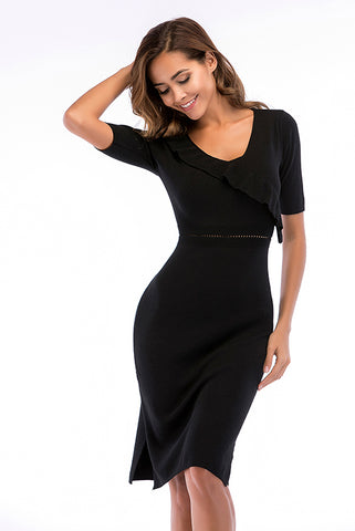 Black Ruffle Trim Slit Fitted Knit Dress