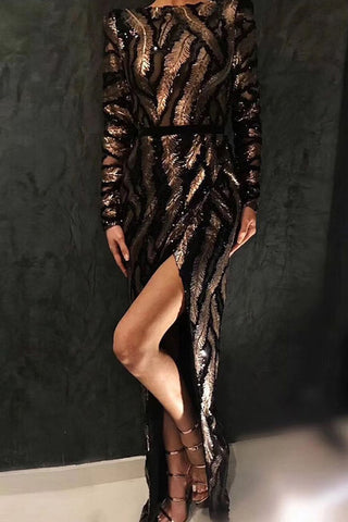 Black Sequined Thigh-high Slit Prom Dress With Long Sleeves