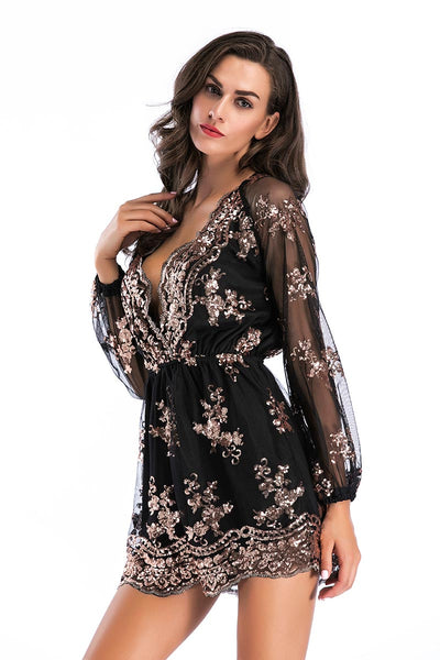Black Sequined V-neck Romper With Long Sleeves
