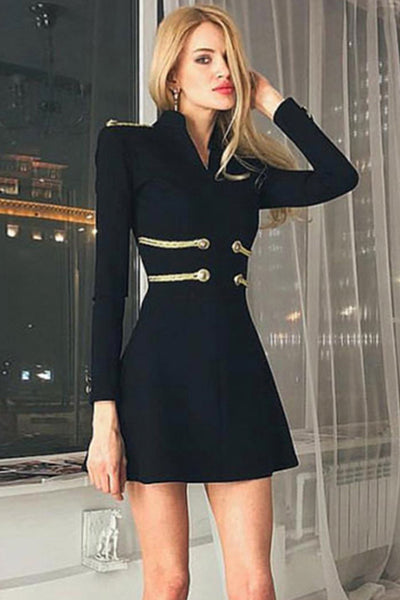 Black Sexy Bandage Bodycon Cocktail Dress With Long Sleeves