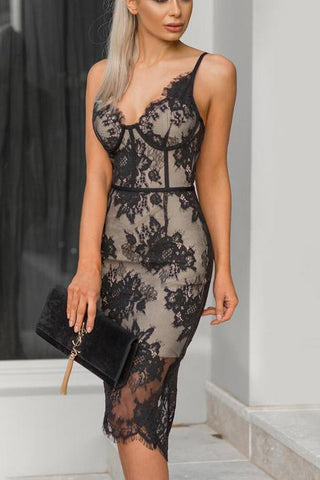 Black Sexy Lace Spaghetti Straps Bodycon Party Dress