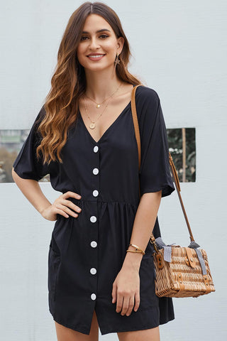 Black Single Breasted Mini Dress With Pockets