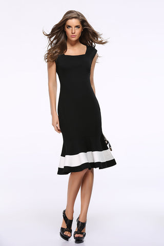 Black Square Neck Sleeveless Color-block Mermaid Dress