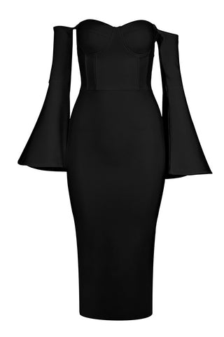 Black Strapless Sexy Bandage Dress With Long Sleeves