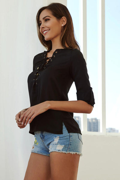 Black Strappy Lace-up Chiffon Blouse With Long Sleeves