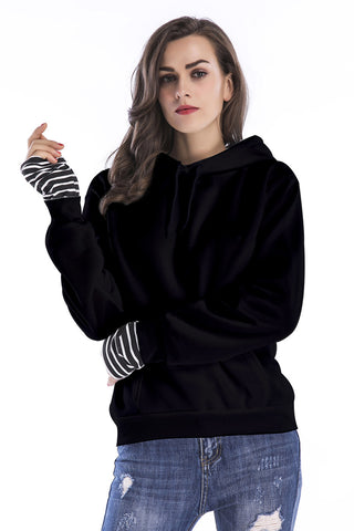 Black Striped Panel Drawstring  Pullover Sweatshirt