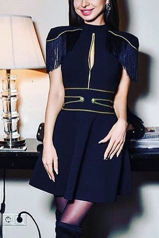Black Tassel Trim Cutout Cocktail Dress