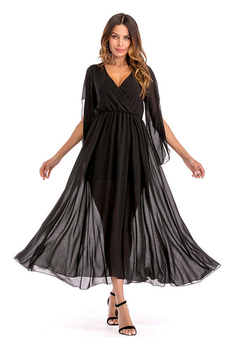 Black V Neck Slit Sleeve Chiffon Maxi Dress