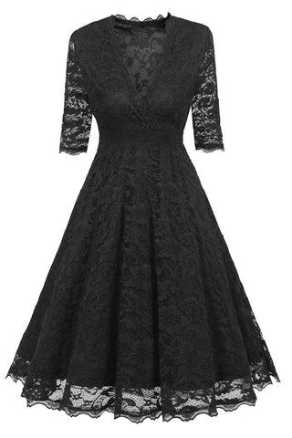 Black V-neck A-line Prom Dress With Half Sleeves - Mislish