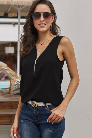 Black V-neck Half Zip Sleeveless Blouse