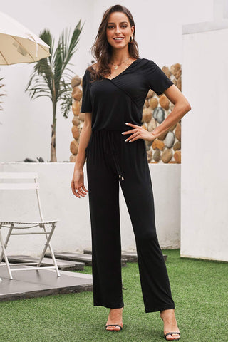 Black V-neck Pocket Short Sleeve Jumpsuit