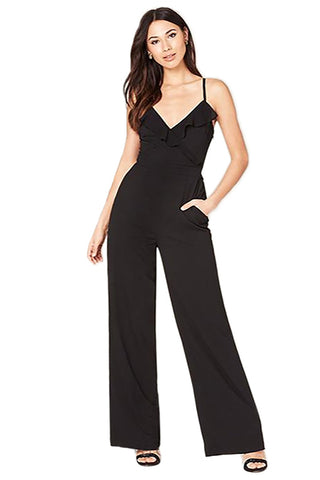 Black V-neck Ruffled Empire Waist Jumpsuit