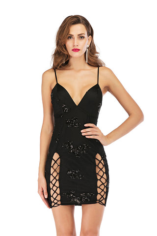 Black V-neck Sequined Strappy Cut Out Bodycon Dress