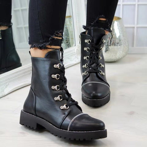 Black Lace-up Combat Boots With Zipper