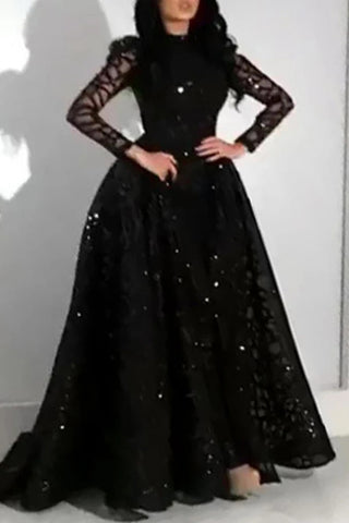 Black Long Sleeve Formal Gown Evening Dress