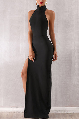 Black Mock Neck Backless Long Bandage Dress
