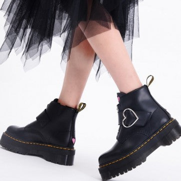 Black Platform Combat Boots With Buckle