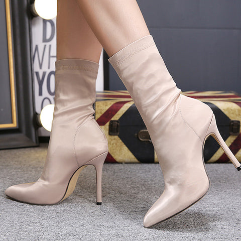 Black Pointed Toe High Stiletto Heels Boots