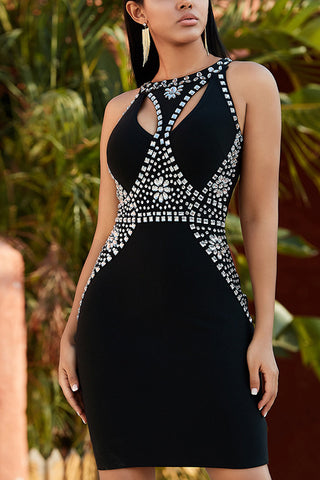 Black Sleeveless Bandage Dress With Rhinestone