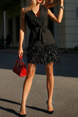Black Sleeveless Tassel Belted Dress