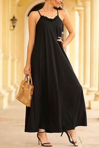 Black Spaghetti Straps Backless Long Dress