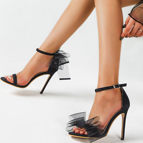 Black Stiletto Heels Bowknot Ankle Strap Sandals