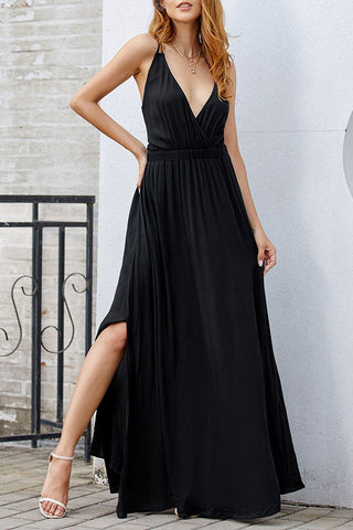 Black V-neck Spaghetti Straps Backless Dress