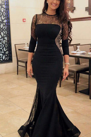 Black Lace Mermaid Prom Dress