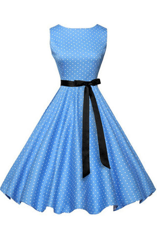 Blue Polka Knot Sleeveless Belted Dress
