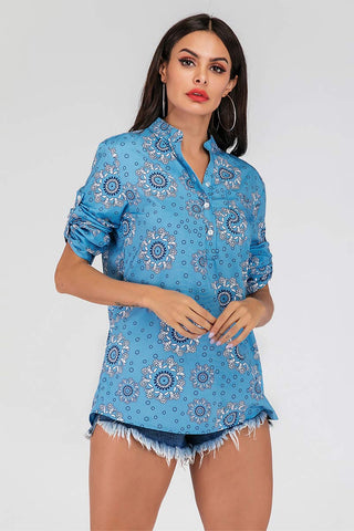 Blue Printed V-neck Buttoned Blouse