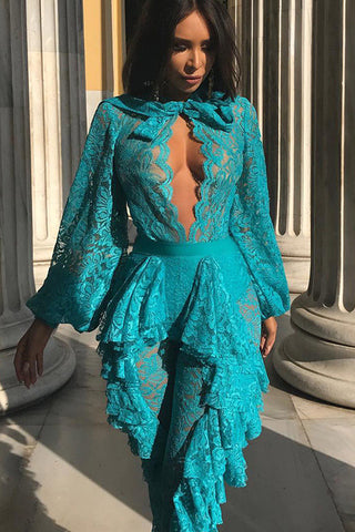 Blue Sexy See Through Lace Jumpsuit With Long Sleeves - Mislish