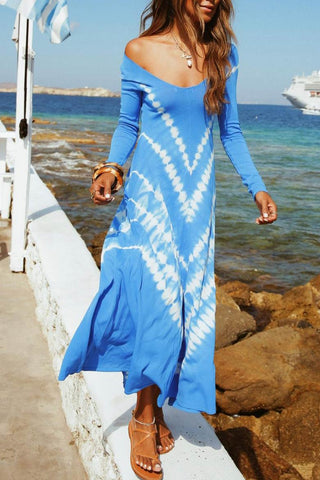 Blue Tie-dye Vacation Maxi Dress