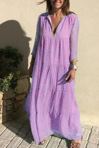 Bohemian Printed V-neck Maxi Dress