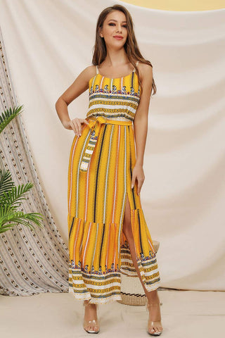 Boho Printed Lace-up Slit Spaghetti Straps Dress