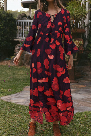 Boho Floral Print Slit Flare Sleeve Maxi Dress