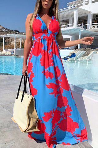 Boho Floral Sleeveless Maxi Dress