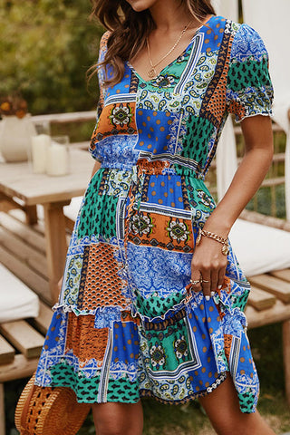 Boho V-neck Printed Summer Dress