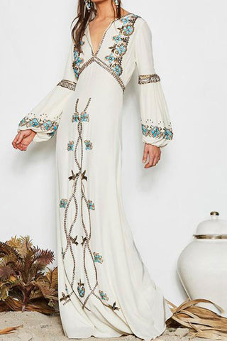 Boho Embroidered Lantern Sleeves Maxi Dress