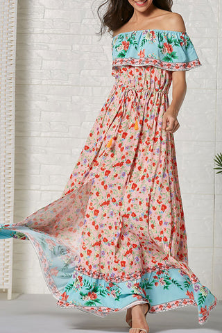 Boho Off-the-shoulder Print Ruffled Dress